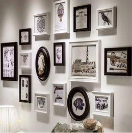 Wholesale Photo Frames For Walls - Hot Sales Wooden Photo Frame Wall Decor For Home Decorative 16 pcs set,Blue,White,Black Colours,Wholesale Collage photo frames