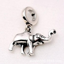 Wholesale Authentic Food - Authentic 925 Sterling Silver Animal Bead Charm Vintage Cute Elephant bone Pendant Beads Fit Pandora Bracelet Bangle DIY Jewelry