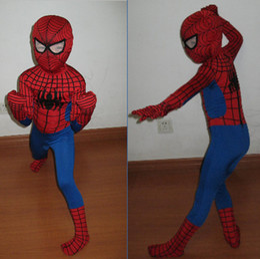Wholesale Spiderman Mascot Costumes - kids lycra spiderman zentai suit children mascot spiderman costumes morph costume