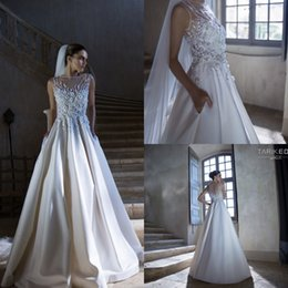 Wholesale Exquisite Beaded Wedding Dress - 2015 Exquisite Beaded Wedding Dresses Spring Sweep Train Sheer Neck A Line Sleeveless Applique Simple Fashion Wedding Party Bridal Gowns