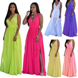Mode élégant parti robes femmes mousseline de soie sans manches taille élastique robe de bal d'été longue soirée dames robes de cocktail, plus la taille S-3XL ? partir de fabricateur