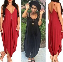 Wholesale Sexy Red Lace Bodysuit - 2015 Sexy Women Jumpsuit Bodycon Bandage Loose Romper Black Red Cotton Casual Bodysuit Jumpsuit Pants Rompers Womens Jumpsuit