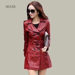 Wholesale Leather Jacket Women Xxl - Wholesale- Fashion Plus Size L XL XXL XXXL 4XL Long Leather Jacket Women Leather Coat Female 2017 Spring Ladies Leather Jackets Coats Red