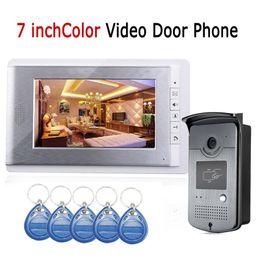 Wholesale Video Intercom Id - Wired 7 inch LCD Color Video Door Phone Intercom System ID RFID Keyfobs IR Outdoor Camera Wholesale