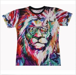 Wholesale 3d Glasses Sexy - FG1509 2015 New Fashion men women's 3D t-shirt printed sexy colorful top tees Tshirt print animals lion with glasses T shirt for men