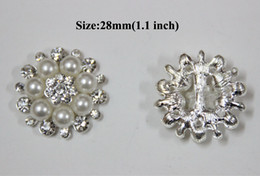 Wholesale Synthetic Pearl Buttons - Free Shipping Wholesale 28mm 40pcs lot Flatback Rhinestone Button With Pearl For Hair Flower Wedding Embellishment BYM05018