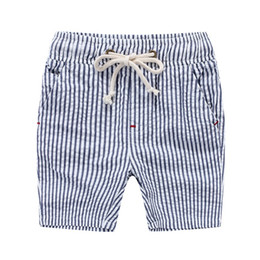Wholesale Baby Boy Shorts Plaid Pants - Summer boys beach shorts Korea cotton stripes plaid draw cord shorts PP pant for boy Children kids baby clothing wholesale