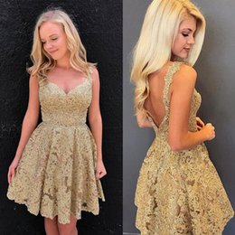Wholesale Junior Pink Lace Cocktail Dress - Gold Lace Homecoming Dresses 2018 Girls Short Prom Dress Sleeveless A-line Latest Junior Graduation Gowns Backless Cocktail Dresses