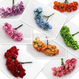 Wholesale Mulberries Flowers - Pick color (144pcs lot) 1.5cm Multicolor Mulberry Paper Rose Flower Bouquet Scrapbooking artificial
