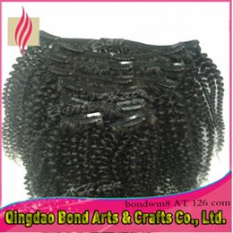 Wholesale Cheap Clip Extensions - 3packs lot 10-32 Inch Natural hair extensions clip in Brazlian Virgin Hair Dyeable brazilian afro Human Hair kinky curly clip on Hair Cheap