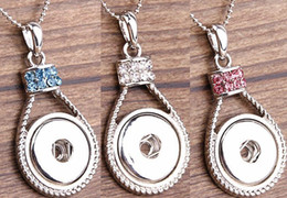 Wholesale Interchangeable Heart Pendant - 2016 Hot Style NOOSA Ginger Snap Charms Jewelry Interchangeable Jewerly Crystal Pendants Necklace 3Bead chain Colors mix 10pcs lot