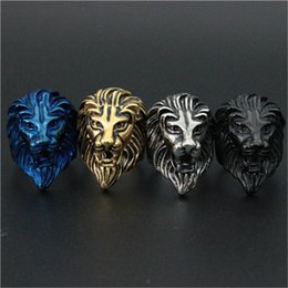 Wholesale Ring Men King - 1pc Free Fast Shipping New Arrival 4 Color Lion King Ring 316L Stainless Steel Man Boy Fashion Biker Lion Head Ring