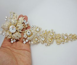 "Wholesale Crystal Clear Wedding Brooch - Wholesale - Bride Luxurious 7.87"" Long Flower Leaf Gold-plate Brooch Pin Clear Rhinestone Crystal"