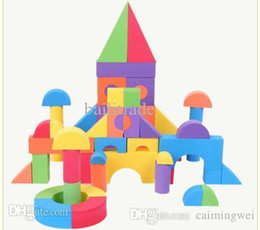 Wholesale Soft Building Blocks - Wholesale-F30 High Quality 52 Pieces Soft Foam EVA Building Blocks Baby Early Education Classic Play Toys For Kids Gift 36*15*12cm