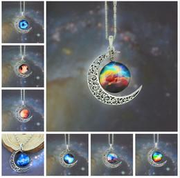 Wholesale Children Vintage Necklace - 12 colors Vintage moon necklace starry Moon Outer space Universe Gemstone necklaces pendants Chain jewelry Children Accessories 48pcs lot