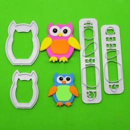 Wholesale Penguin Mold - 4pcs set New Design DIY plastic Sharp cutting die owl Shape Sugar cakes decorated plastic mold penguin cut q171128