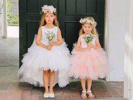 Wholesale Kids Girl Dress Bride - 2018 Amazing Blush White Hi Low Flower Girls Dresses For Wedding Bride Cheap Jewel Neck Ruffled Communion Dress For Girls Kids