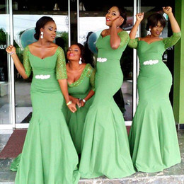 Wholesale Emerald Wedding Dresses - Plus Size emerald green Bridesmaid Dresses With Sequined Half Sleeves Scoop Sheath Elegant Garden Wedding Prom Dresses With Sash Appliques