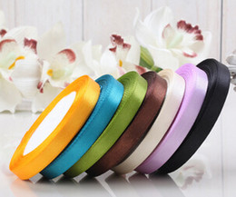 Wholesale Wholesale Webbing Rolls - 10PCS  pack 22M*10mm Ribbon Single Face Satin Ribbon Rolls Webbing Decoration Candy Box Packaging