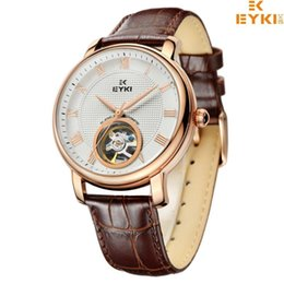 Wholesale Eyki Watch Steel Band - EYKI Men Watches Top Brand Luxury Genuine Leather Band Analog Display With Date-day Automatic Watch relogio masculino