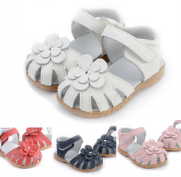 Wholesale Pink Flower Baby Girl Shoes - girls sandals genuine leather pink white navy red baby shoes slipper flower sandals quality boutique shoes summer cool