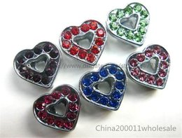 Wholesale Pet Mixes Heart Charms - 8mm mixed crystal heart Slide charms Fit Pet Dog Cat Tag Collar Wristband