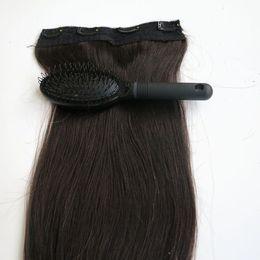 Wholesale Remy Human Hair Color 1b - 80g 1pcs set 20 22inch Remy Human Hair Clip in Hair Extensions #1B Off Black Straight hair free comb