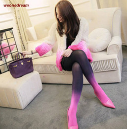 Wholesale Wearing Thin Pantyhose - Wholesale-Gradient Korean Fashion Thin Sexy Velvet Pantyhose Plus File Asymmetric Color Stitching Bottom Invisible Socks Bottom Wear