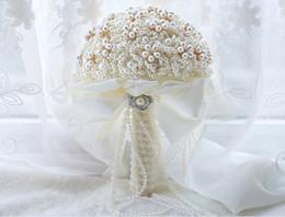 eventos ramo Rebajas Nueva llegada de perlas de lujo Crystal Ribbon Hermosa boda de marfil Eventos Suministros de boda Nupcial Bouquet En stock