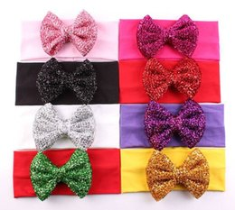 Wholesale Gold Leaf Hair Band Accessories - baby sequins headbands girls gold leaf hair bows children shiny butterfly hair accessories kids boutique head wraps cotton elastic hair band