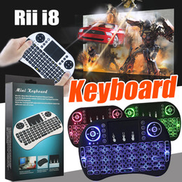 Wholesale Otg Mouse - Rii i8 Mini Keyboard 2.4GHz Wireless Backlight Gaming Keyboards Air Mouse Remote Control For PC Pad Google Andriod TV Box Xbox360 PS3 OTG