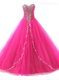 Wholesale Cheap Short Red Quinceanera Dresses - Fashion Sweetheart Lace up Beaded Cheap Quinceanera Gowns Princess Sweet 16 vestidos de Quinceanera Dresses 2016 prom dresses Ball Gown