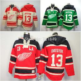 Wholesale Detroit Hoodie - New Detroit Red wings Hoody 13 Pavel Datsyuk hooded Jersey Old Time Hockey Hoodies Sweatshirts M--2XL
