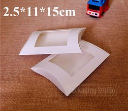 Wholesale Windows Chocolate - Free Shipping Window Pillow Cardboard Box Craft Gift Packaging White Paper Boxes 2.5*11*15cm