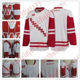 Wholesale Big Ten - Custom Wisconsin Badgers Red White 19 Cameron Hughes 33 Kyle Hayton 10 Jake Linhart 18 Seamus Malone Hockey College Big Ten Stitched Jerseys