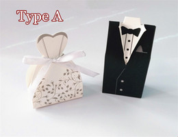 Wholesale Dress Shaped Cards - 100Pcs Wedding Favor Candy Holder Box Bride & Groom Dress hard paper board & ribbon Tuxedo Three option Party w  Ribbon Gift