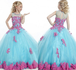 Wholesale Tank Top Flower Girl Dresses - 2017 Charming Girls Pageant Dresses Tank Top Blue Color Crew Collar Tulle With Appliques Ball Gown Formal Flower Girls Dress For Wedding