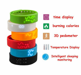 Wholesale Pedometer Steps - 2015 Rushed Step W2 Smart Band Watch Slim Bracelet Wristband Fitness Tracker 3d Pedometer Sleep Monitor Thermometer Fuelband Time Display