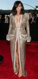 Wholesale Custom Board - 2015 57th Grammy Kim Kardashian Sexy Deep V Neck Long Sleeves Front Split Beading Shoulder Board Floor Length Red Carpet Evening Dress Dhyz