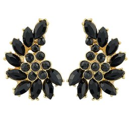 Wholesale Imitation Gemstone Jewelry - Black White Imitation Gemstone Romantic Brincos Pequenos Gold Alloy Trendy Stud Earrings Fashion Jewelry For Women