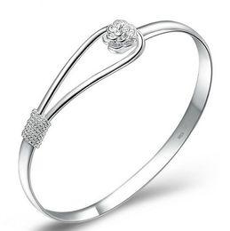 Wholesale Sterling Silver Cuff Bracelets Wholesale - women Rose Bracelets 925 Sterling Silver Bracelet Flower Bangles Bracelet Hand Chain bracelet bangles vintage charms jewelry D1168