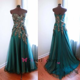Wholesale Sweetheart Peacock Blue Prom Dress - 2015 Real Image Hunter Evening Dresses Sweetheart Peacock Beads Glitz Floor Length Mix Color Vestidos Zipper Back Party Prom Gowns BO6750