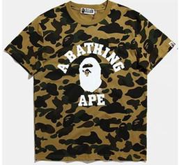 Wholesale Cap Shirt Men - shark T Shirt fashion street head stitching camouflage printing cotton men and women Hoodies skateboard short sleeve aape T-shirt