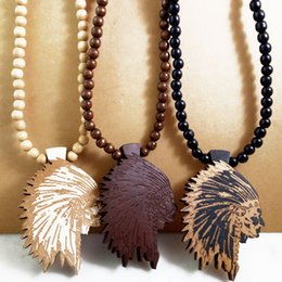 Wholesale Men Jewelry Wooden - Indian Chief Good Wood NYC Hip Hop Jewelry Men Wooden Necklace Wholesale