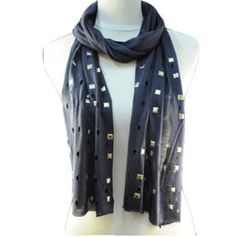 Wholesale Headband Rivets - Women scarf for Spring & Autumn hollow-out design blue ,Black scarf with rivet Plain shawl , top fashion jewelry scarves NL-1493D