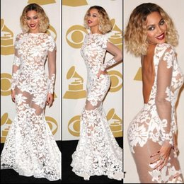 Wholesale Grammy Evening Gowns - Beyonce Grammy Awards Full Lace Mermaid Prom Dresses Jewel Neck Long Illusion Sleeves Backless Sweep Train Formal Evening Dress Party Gowns