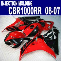 Wholesale Low Priced Cbr Fairings - Lowest price fairing kit for HONDA Injection molding CBR1000RR 06 07 red black CBR 1000 RR 2006 2007 fairings bodywork AQ49