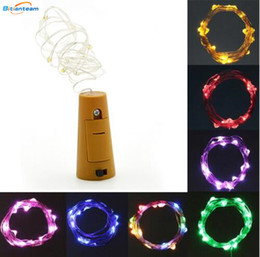 Wholesale Yellow Glass Bottles - Hot 2M 20LED Lamp Cork Shaped Bottle Stopper Light Glass Wine LED Copper Wire String Lights For Xmas Party Wedding