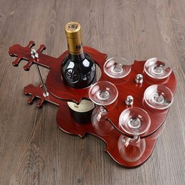 Wholesale Metal Craft Wine - Wooden Violin Wine Bottle Holder Stand and Goblet Glass Hanging Rack Decorative Drinkware and Barware Gadget Craft Ornament