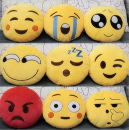 Almofada cute lindo emoji smiley travesseiros on-line-20 Estilos de Diâmetro 32 cm Almofada Bonito Emoji Smiley Almofadas Almofadas Almofadas Dos Desenhos Animados Amarelo Rodada Almofada travesseiro de Pelúcia Recheado de Brinquedo